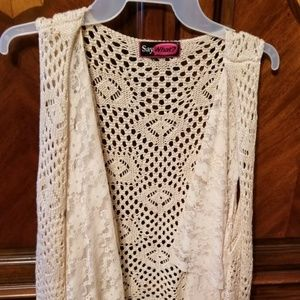 Crochet and Lace Vest with Fringe Size Medium